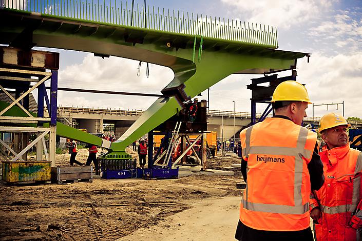 bouw fietsbrug 't Groentje, Lent (Nijmegen)