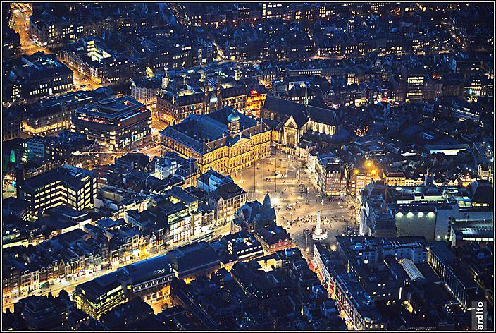 Amsterdam, luchtfoto, avond