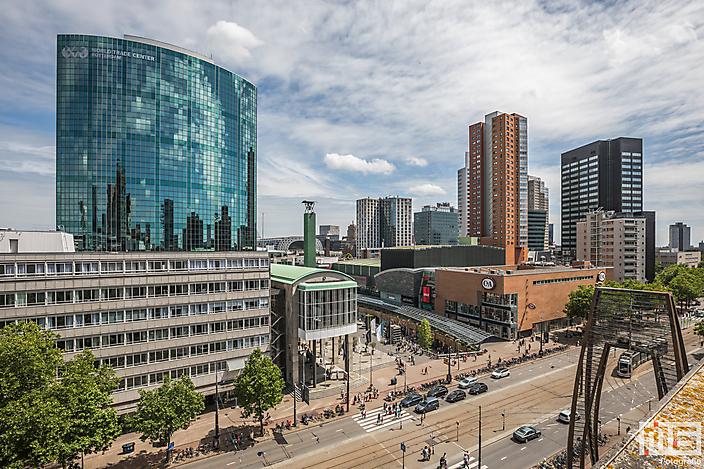 Het WTC Rotterdam op de Coolsingel in Rotterdam