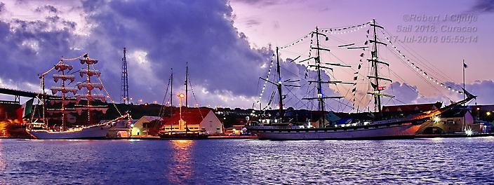 Sail 2018 op Curacao, tijden de vroege ochtend gloren.