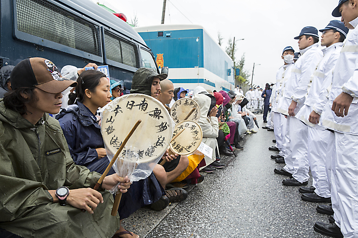 Demonstratie in Okinawa, Japan