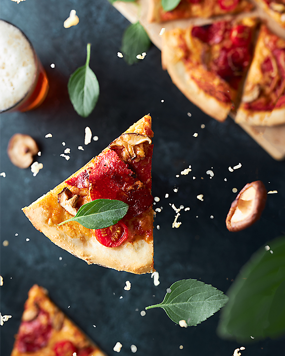 Falling pizza  slice