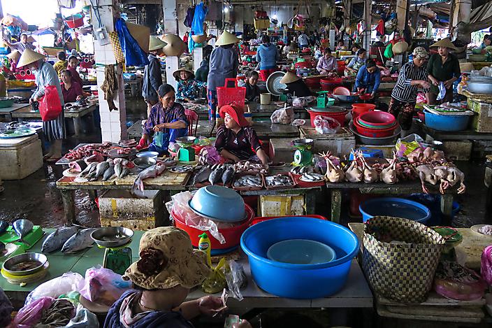 Vismarkt ij Hoy An, Vietnam