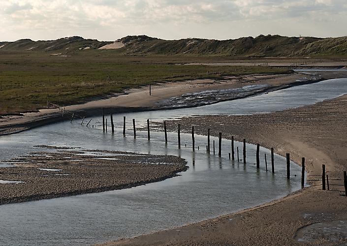 Het Zwin. Grens tussen Nederland (Zeeuws Vlaandern) en België (West-Vlaanderen).
