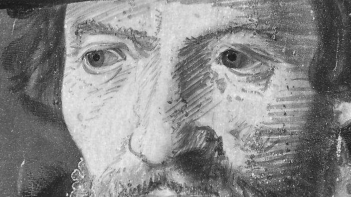Infrarood-detail ogen-man 16e eeuws paneel
