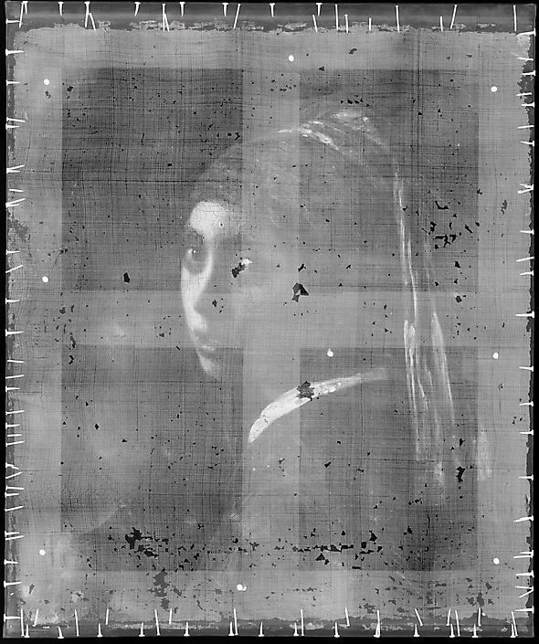Meisje met de Parel, röntgenopname. Mauritshuis.